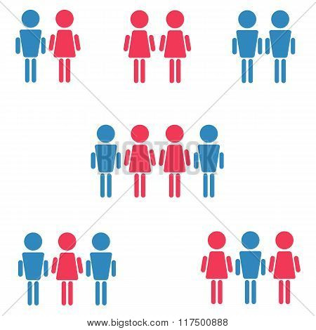 Set Of Heterosexual, Homosexual: Gay And Lesbian, Bisexual Symbols, Pink And Blue Woman And Man Isol