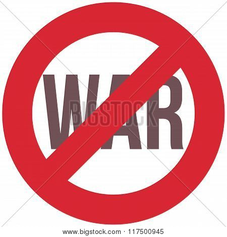 Red And Black Stop War Symbol, Isolated Vector