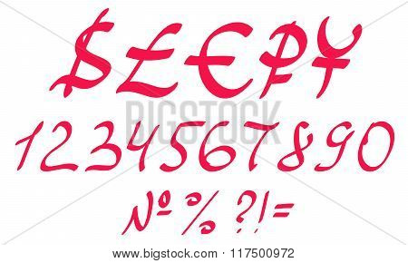 Vector Hand Drawn Numbers And Currencies: Dollar, Pound, Euro, Rouble, Yen