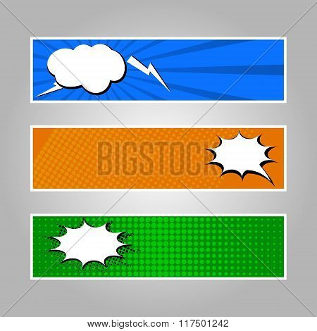 Set of comicbanners with speech bubbles