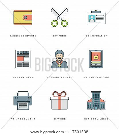 Flat line simple icons set. Thin linear stroke vector Essentials objects symbols.