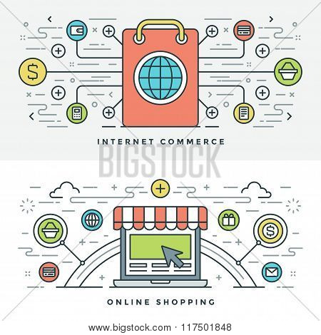 Flat line Internet Commerce and Online Shopping. Vector illustration.