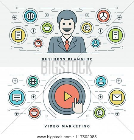 Flat line Business Planning and Video Marketing. Vector illustration.