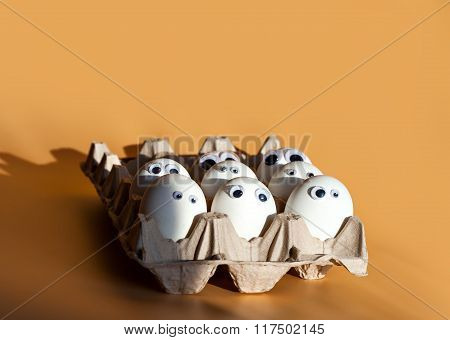 eggs with false eyes in a cardboard container