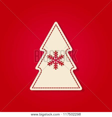 White Christmas Tree With Snowflake, Isolated Vector On Red Background