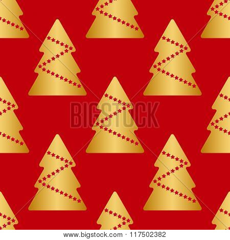Vector Seamless Texture, Gold Christmas Trees With Red Stars, Isolated On Red Background