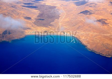 Aerial view of Fuerteventura island at Canary Islands of Spain