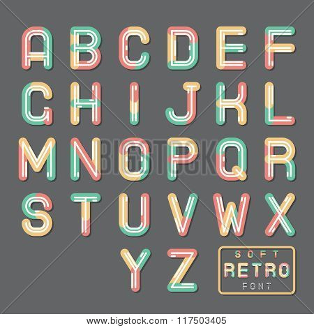 Soft Line Abstract Retro Vintage Hopster Alphabet A to Z Font Symbol Icon Vector Illustration