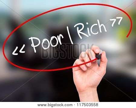 Man Hand Writing Poor - Rich With Black Marker On Visual Screen.