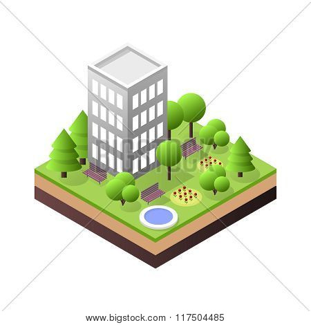 3d isometric city building block dormitory area infographic concept.