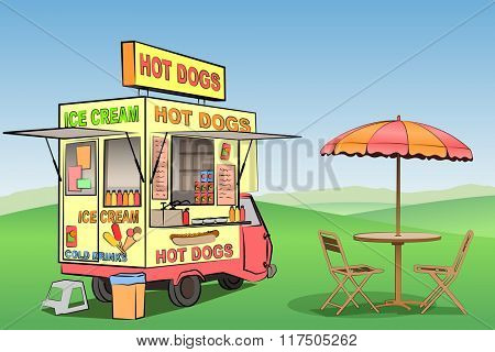 A Mobile Hot Dog, Ice Cream Stand, Kiosk