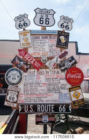 WILLIAMS, ARIZONA - April 19th 2012: Menu and signage at an American diner on the historic Route 66.