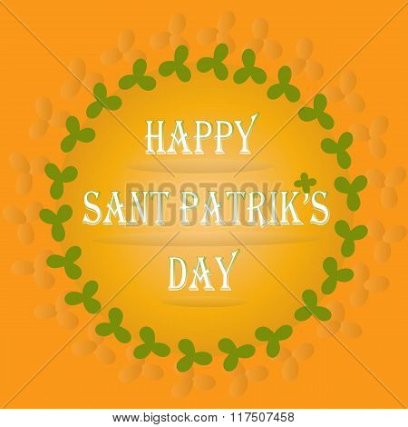 Greeting card Happy St Patrick's day. Orange background, green clover leaves, white letters