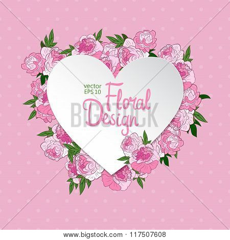 Floral vector frame. Heart shape
