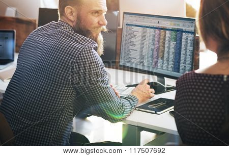 Business Finance Team Busy Workplace Concept