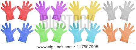 Plastic Gloves Isolated - Colorful