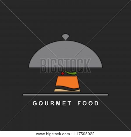 Gourmet Food On A Silver Plate And Serving Dome. Vector Background.