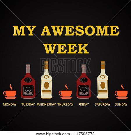 My awesome week - funny inscription template