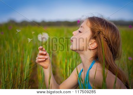 little girl blowing dandelion in field