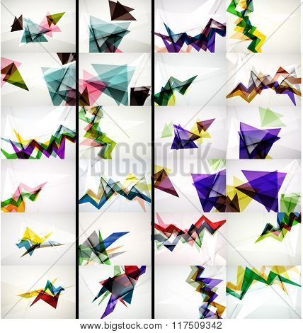 Set of triangle design geometric abstract backgrounds, origami style