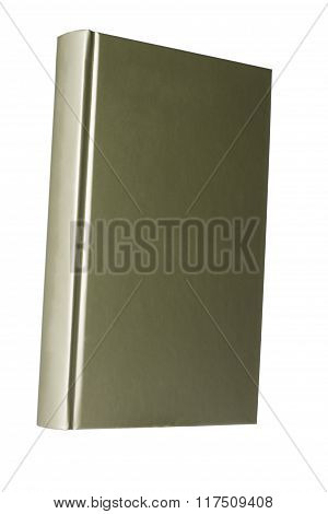Blank olive hardcover book isolated on white background with copy space
