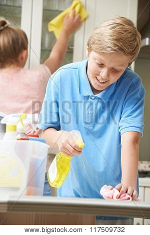 Children Helping To Clean House