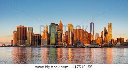New York City Panorama - Manhattan and business district at the morning, gentle sun colors, very big size