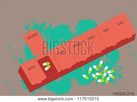 A box of medicine,vector illustration,flat design,Daily drug medicine organizer ,Storage of medicine