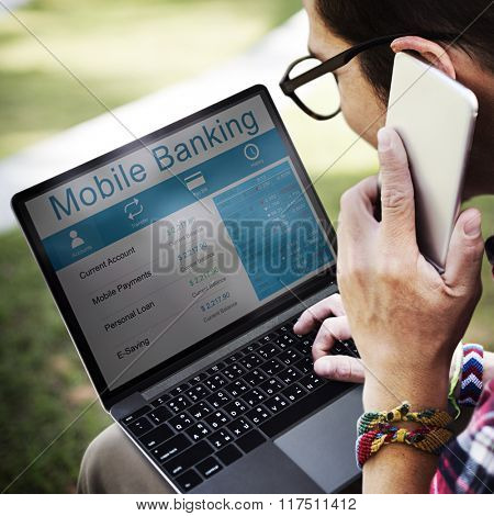 Mobile Banking Accounting Balancing Internet Concept