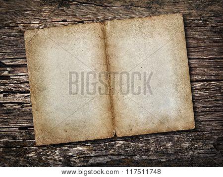 Old Sheet Of Paper On Vintage Wooden Background
