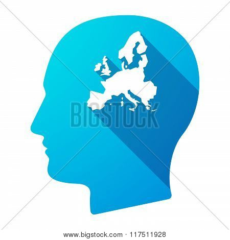 Long Shadow Male Head Icon With  A Map Of Europe