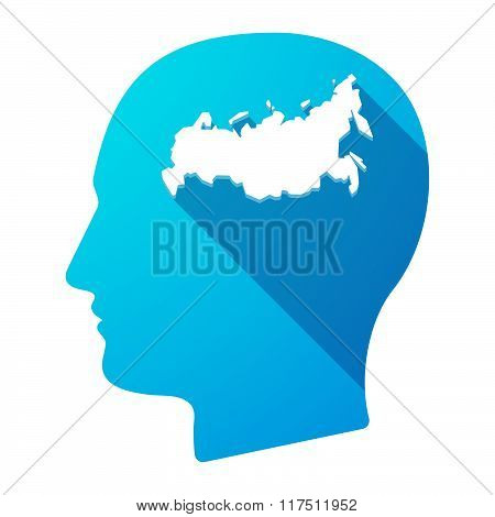Long Shadow Male Head Icon With  A Map Of Russia