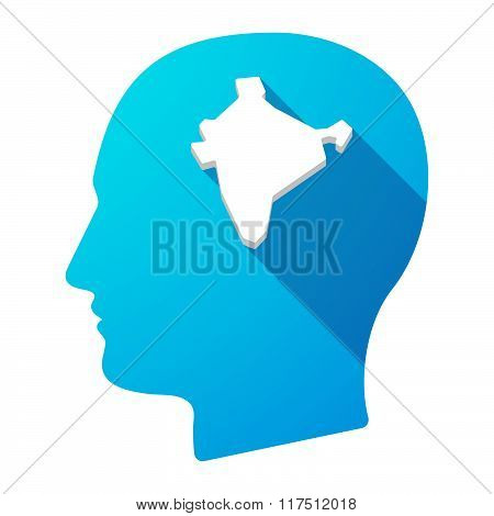 Long Shadow Male Head Icon With  A Map Of India
