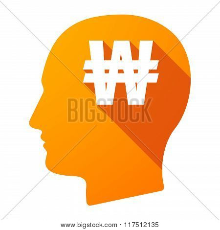 Long Shadow Male Head Icon With A Won Currency Sign
