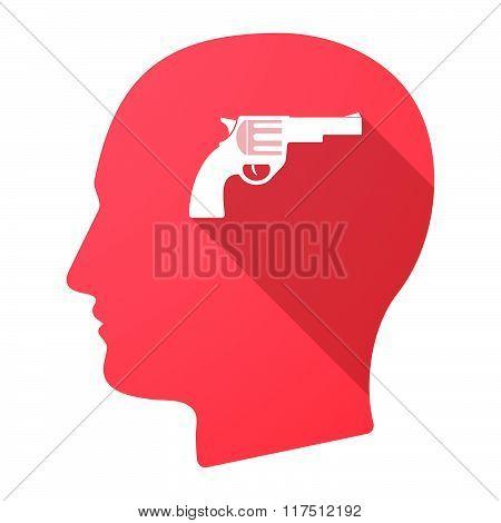 Long Shadow Male Head Icon With A Gun