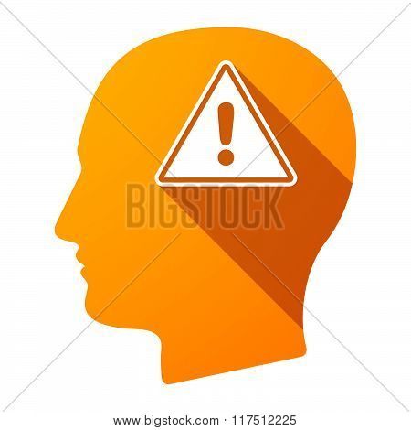 Long Shadow Male Head Icon With A Warning Signal