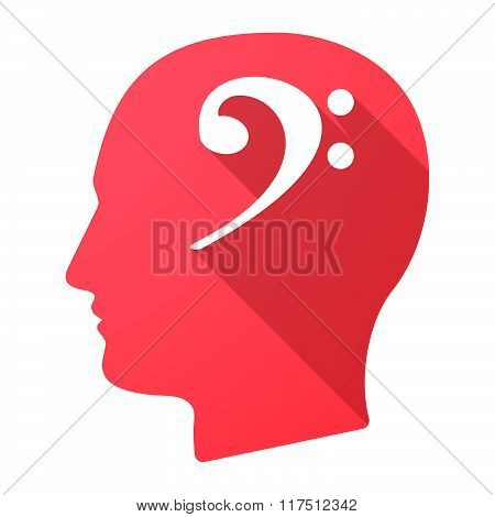 Long Shadow Male Head Icon With An F Clef