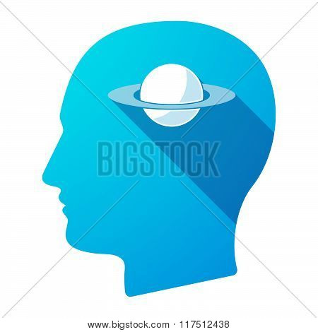 Long Shadow Male Head Icon With The Planet Saturn