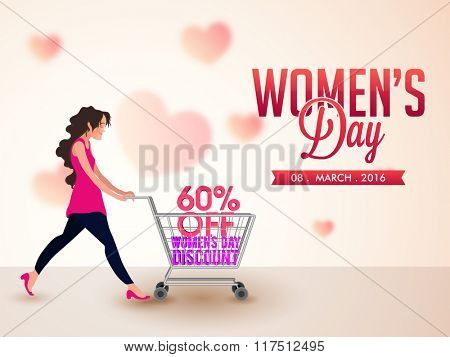 Creative Poster, Banner or Flyer design of Sale with 60% discount offer on occasion of Women's Day.