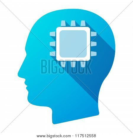 Long Shadow Male Head Icon With A Cpu