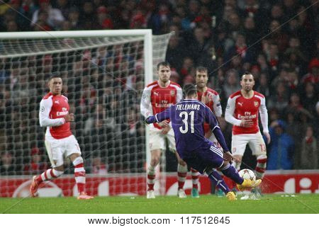 LONDON, ENGLAND - NOV 04 2014: Youri Tielmans of Anderlecht takes a free kick during the UEFA Champions League match between Arsenal from England and Anderlecht from Belgium