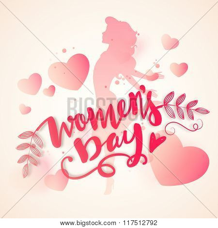 Elegant greeting card design with pink illustration of a young girl on hearts decorated background for Happy Women's Day celebration.