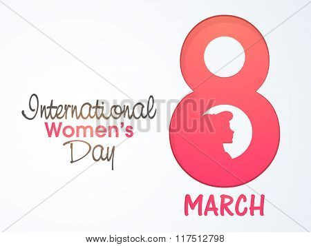 Stylish pink text 8 March with young girl face for International Women's Day celebration.