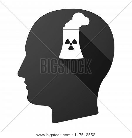 Long Shadow Male Head Icon With A Nuclear Power Station