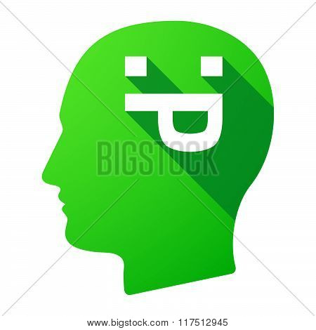 Long Shadow Male Head Icon With A Sticking Out Tongue Text Face