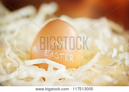 Brown Easter Egg With Text Happy Easter.