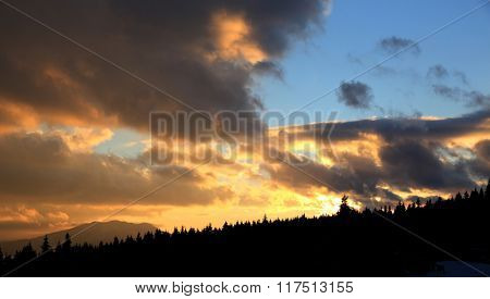 Nice sunset landscape in mountains