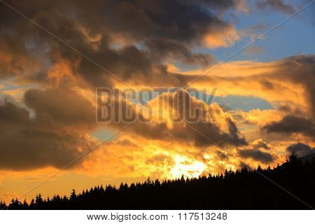 Nice sunset sky above mountain forest