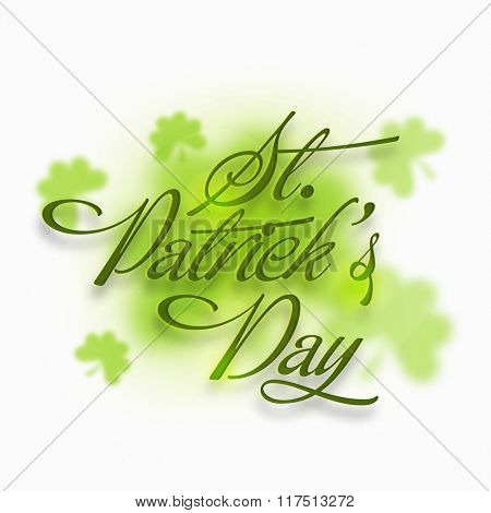 Elegant greeting card design with stylish text St. Patrick's Day on shamrock leaves decorated background.