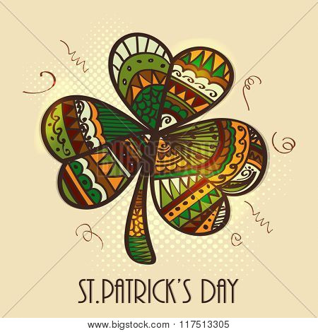 Colorful floral design decorated creative Shamrock Leaf for Happy St. Patrick's Day celebration.
